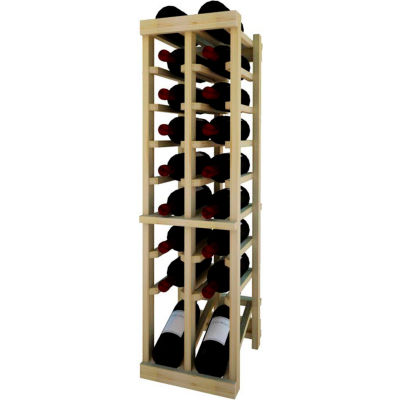 Individual Bottle Wine Rack - 2 Column W/Lower Display, 3 ft high - Unstained Pine