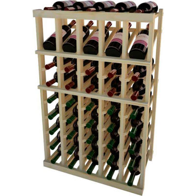 Individual Bottle Wine Rack - 5 Column W/Top Display, 3 ft high - Unstained Pine