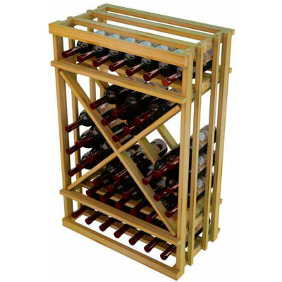 Diamond Cube Wine Rack - 1 Column, 3 ft high - Unstained Pine