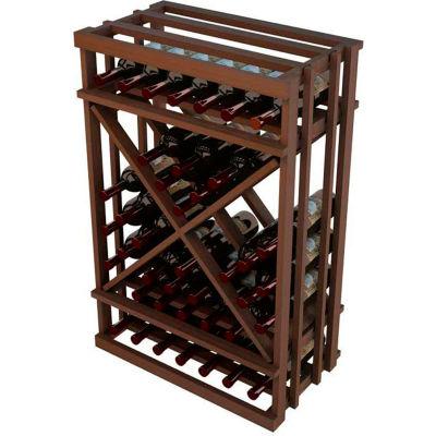 Diamond Cube Wine Rack - 1 Column, 3 ft high - Mahogany, Mahogany
