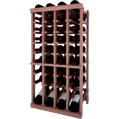 Individual Bottle Wine Rack - 4 Column W/Lower Display, 3 ft high - Walnut, Mahogany