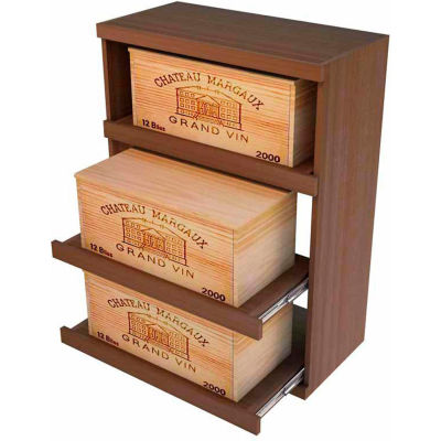 Bulk Storage, Pull Out Wine Bottle Cradle, 3-Drawer 3 Ft high - Walnut, Mahogany
