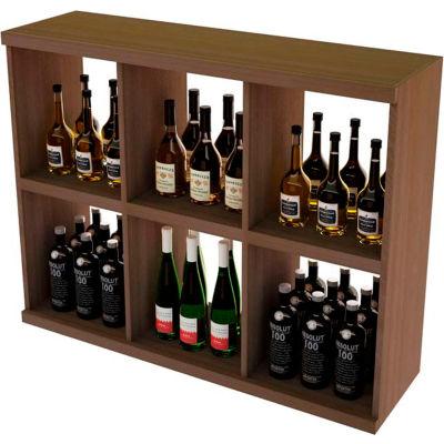 Bulk Storage, Stackable Wine Bottle Shelf, 6-Opening 3 Ft high - Light, Mahogany