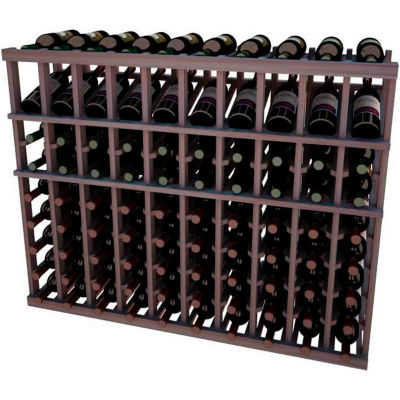 Individual Bottle Wine Rack - 10 Column W/Top Display, 3 ft high - Unstained Mahogany