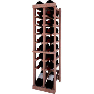 Individual Bottle Wine Rack - 2 Column W/Lower Display, 3 ft high - Unstained Mahogany