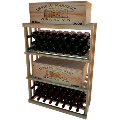 Bulk Storage, Wine Bottle Shelf, 3-Shelf, 3 Ft high - Light, Redwood