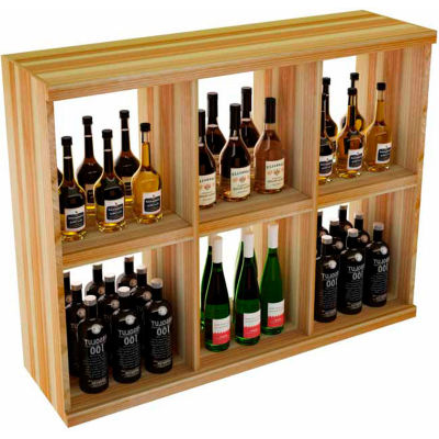 Bulk Storage, Stackable Wine Bottle Shelf, 6-Opening 3 Ft high - Unstained Redwood