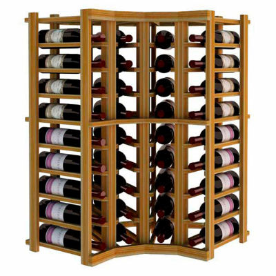 Individual Bottle Wine Rack - Curved Corner, 3 ft high - Unstained Redwood
