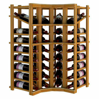 Individual Bottle Wine Rack - Curved Corner W/Top Display, 3 ft high - Unstained Redwood