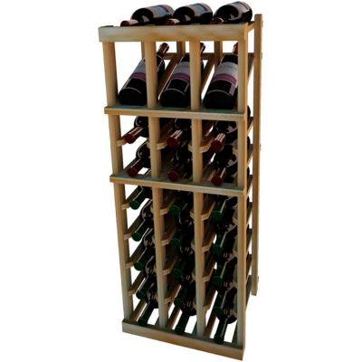 Individual Bottle Wine Rack - 3 Column W/Top Display, 3 ft high - Unstained Redwood