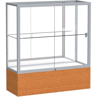 "Reliant Counter Case, Mirror Back, Satin Frame, Carmel Oak Base, 36""L x 40""H x 14""D"