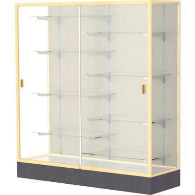 "Colossus Floor Case, Plaque Back, Champagne Gold Frame, 60""L x 66""H x 20""D"