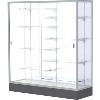 "Colossus Floor Case, White Back, Satin Frame, 60""L x 66""H x 20""D"