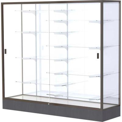 "Colossus Floor Case, White Back, Dark Bronze Frame, 72""L x 66""H x 20""D"