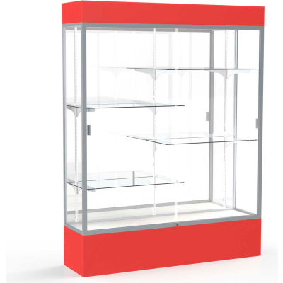 """Spirit Lighted Display Case 60""""W x 80""""H x 16""""D Mirror Back Satin Finish Red Base & Top"""