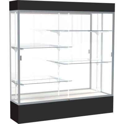 "Spirit Lighted Display Case 72""W x 80""H x 16""D Mirror Back Satin Finish Black Base & Top"