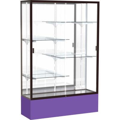 "Spirit Display Case Purple Base, Bronze Frame, Mirror Back 48""W x 16""D x 72""H"
