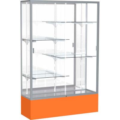 """Spirit Display Case Orange Base, Satin Frame, Mirror Back 48""""W x 16""""D x 72""""H"""