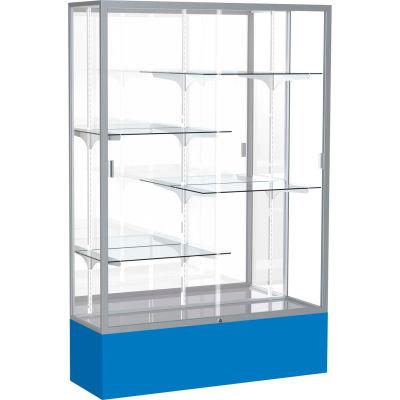 "Spirit Display Case Royal Blue Base, Satin Frame, Mirror Back 48""W x 16""D x 72""H"