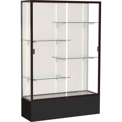 "Spirit Display Case Black Base, Bronze Frame, Fabric Back 48""W x 16""D x 72""H"