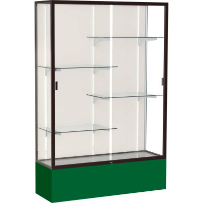 "Spirit Display Case Forest Green Base, Bronze Frame, Fabric Back 48""W x 16""D x 72""H"