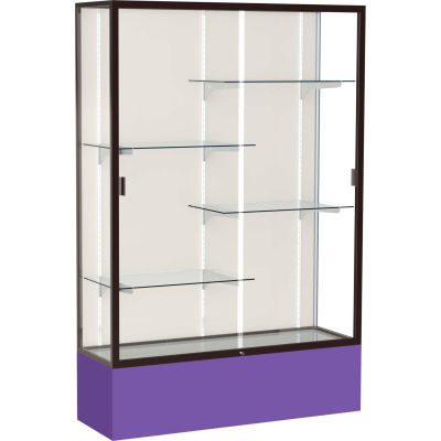 "Spirit Display Case Purple Base, Bronze Frame, Fabric Back 48""W x 16""D x 72""H"