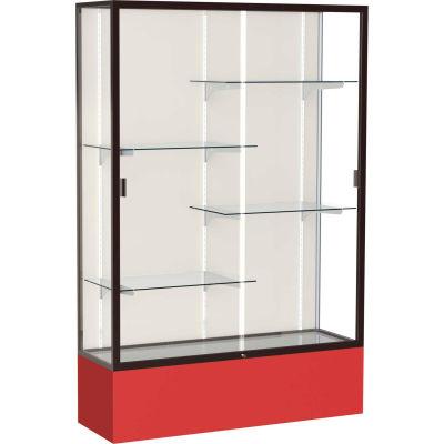 "Spirit Display Case Red Base, Bronze Frame, Fabric Back 48""W x 16""D x 72""H"