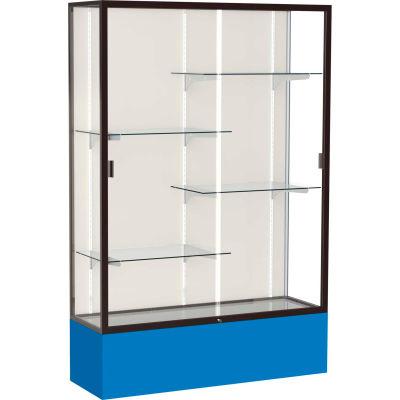 "Spirit Display Case Royal Blue Base, Bronze Frame, Fabric Back 48""W x 16""D x 72""H"