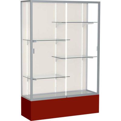 "Spirit Display Case Maroon Base, Satin Frame, Fabric Back 48""W x 16""D x 72""H"