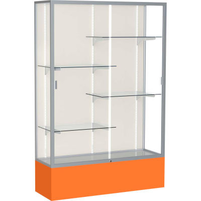"Spirit Display Case Orange Base, Satin Frame, Fabric Back 48""W x 16""D x 72""H"