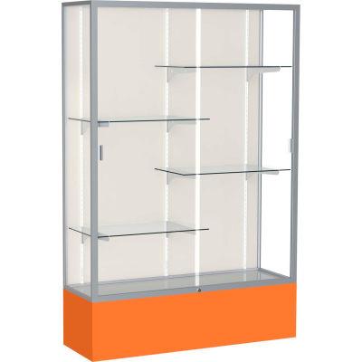 "Spirit Display Case Orange Base, Satin Frame, Fabric Back 48""W x 16""D x 72""H"