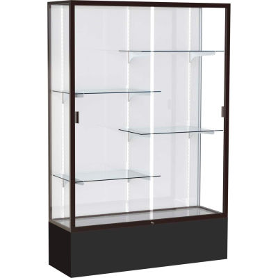 "Spirit Display Case Black Base, Bronze Frame, White Back 48""W x 16""D x 72""H"