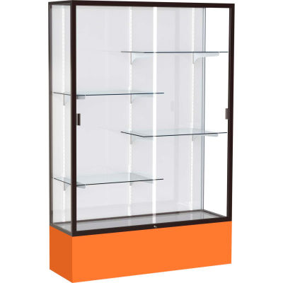 "Spirit Display Case Orange Base, Bronze Frame, White Back 48""W x 16""D x 72""H"