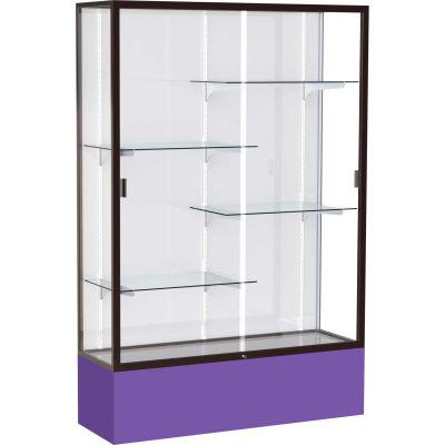 "Spirit Display Case Purple Base, Bronze Frame, White Back 48""W x 16""D x 72""H"