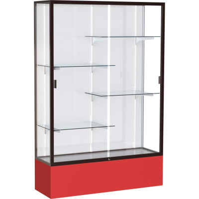 "Spirit Display Case Red Base, Bronze Frame, White Back 48""W x 16""D x 72""H"