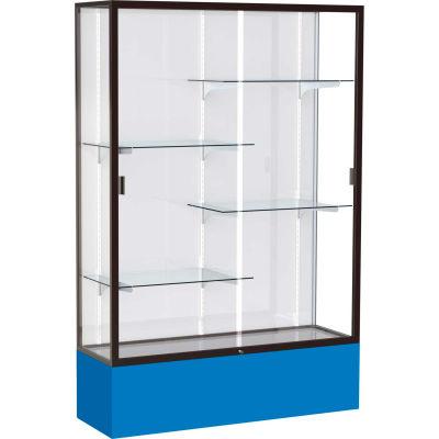"Spirit Display Case Royal Blue Base, Bronze Frame, White Back 48""W x 16""D x 72""H"