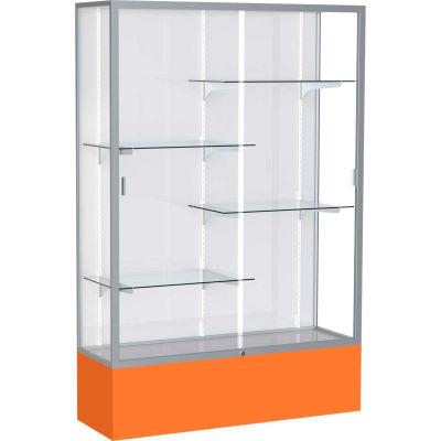 "Spirit Display Case Orange Base, Satin Frame, White Back 48""W x 16""D x 72""H"