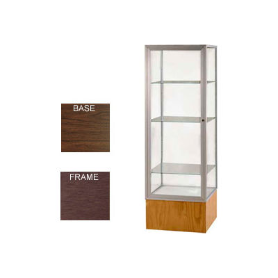 "Keepsake Display Case Walnut Vinyl Base, Bronze Frame, Clear Back 24""W x 72""H"