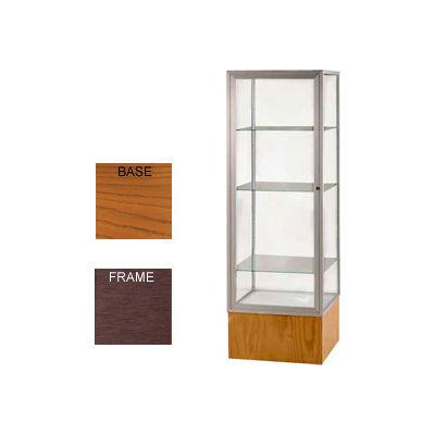 "Keepsake Display Case Carmel Oak Base, Bronze Frame, Mirror Back 24""W x 72""H"