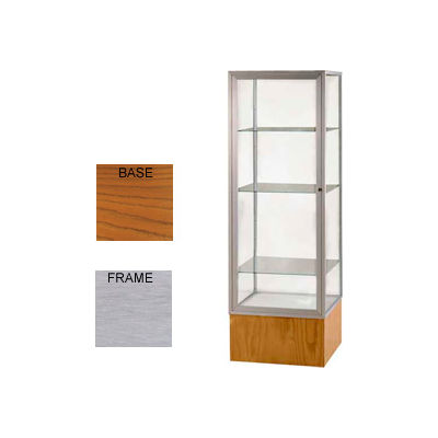 "Keepsake Display Case Carmel Oak Base, Satin Frame, Mirror Back 24""W x 72""H"
