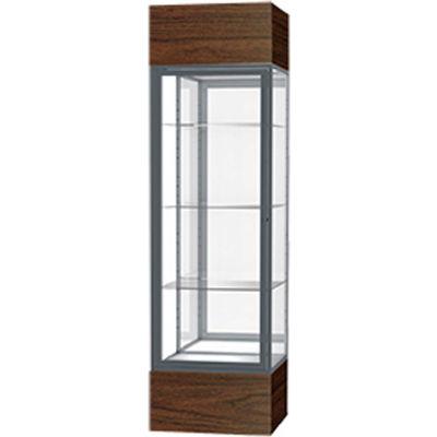 "Keepsake Floor Display Case 24""W x 72""H x 24""D Walnut Base Mirror Back Satin Natural Frame"