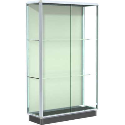 """Prominence Display Case Chrome Frame, Fabric Back 48""""W x 18""""D x 78""""H"""
