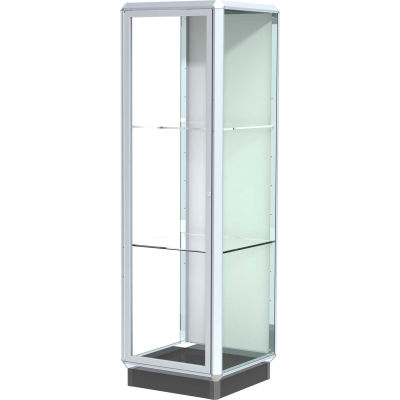 Prominence Display Case Chrome Frame, Fabric Back, Hinged Door