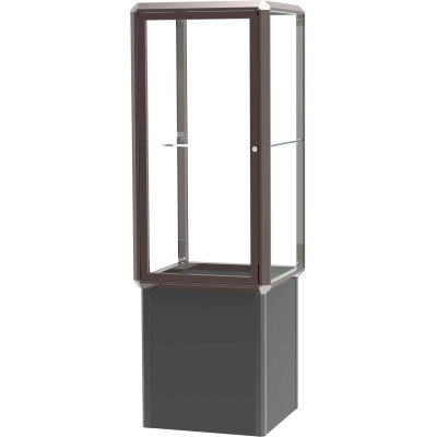 "Prominence Spotlight Lighted Tower Case, Glass Back, Bronze Frame, Locking Base, 24""L x 72""H x 24""D"