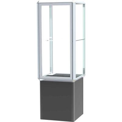 "Prominence Spotlight Lighted Tower Case, Glass Back, Chrome Frame, Locking Base, 24""L x 72""H x 24""D"