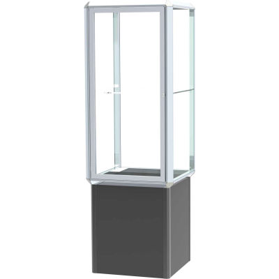 """Prominence Spotlight Tower Case, Clear Glass Back, Chrome Frame, Locking Base, 24""""L x 72""""H x 24""""D"""
