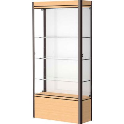 """Contempo Lighted Floor Case, White Back, Light Maple Base, Dark Bronze Frame, 36""""L x 72""""H x 14""""D"""