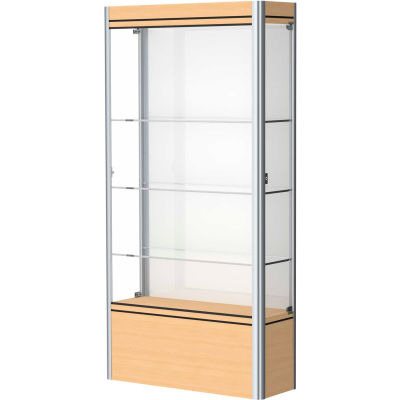 "Contempo Lighted Floor Case, White Back, Light Maple Base, Satin Frame, 36""L x 72""H x 14""D"