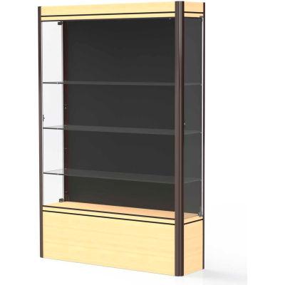 "Contempo Lighted Floor Case, Black Back, Light Maple Base, Dark Bronze Frame, 48""L x 72""H x 14""D"
