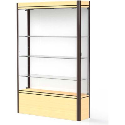 """Contempo Lighted Floor Case, White Back, Light Maple Base, Dark Bronze Frame, 48""""L x 72""""H x 14""""D"""